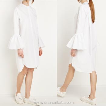 100% Baumwolle Glockenärmel Hemd Kleid Weiß Hemd Midikleid Mit ...