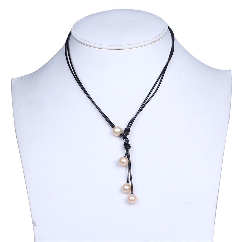 Fashion Simple Handmade Leather Chain Pearl Jewelery Necklace