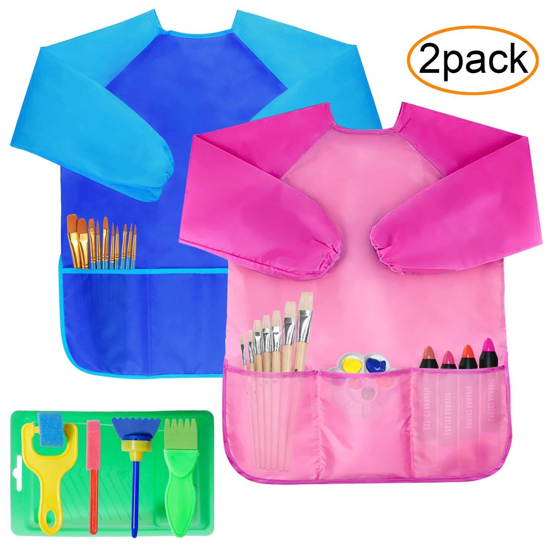 Fullsexy 2 Pack Children Art Smock, Children Waterproof Artist Painting Aprons Long Sleeve with 3 Pockets, Including Kids Sponge Painting Brushes Kit