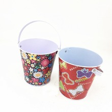 decorative christmas handle metal tin bucket gift tin pail for popcorn