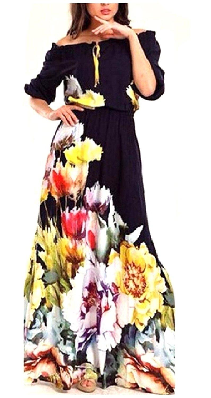 Zimaes-Women Elasticated Waistband Floral Off-Shoulder Long Dress