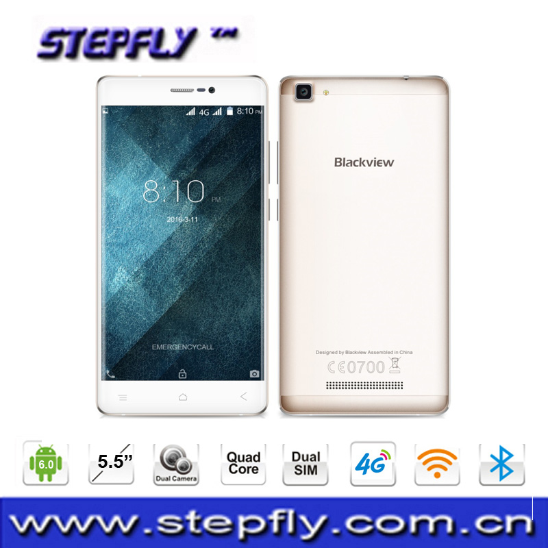 5.5 inches Blackview A8 Max 4 G LTE Mobile Phone Android 6.0 MT6737 Quad Core 2GB + 16GB 8MP 3000 mAh 1280x720 IPS Smartphone