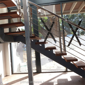 Indoor Modern Stainless Steel Wire Staircase Railing For Stair Handrail