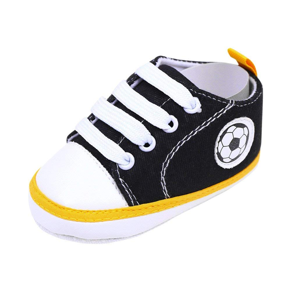Jshuang 0-1 Years Old Baby Shoes New Canvas Shoes Baby Shoes Toddler Shoes, Newborn Infant Baby Football Print Sneaker Anti-Slip Soft Sole Toddler Canvas Shoes (Black, 12)