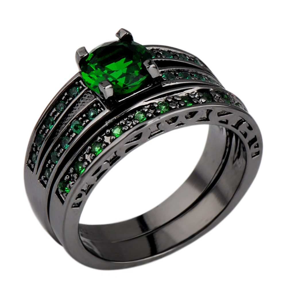 Fashion Emerald Finger Ring for women AAA zircon 10kt Black Gold Filled Rings Party Jewelry wedding Gift Size6\7\8\9\10