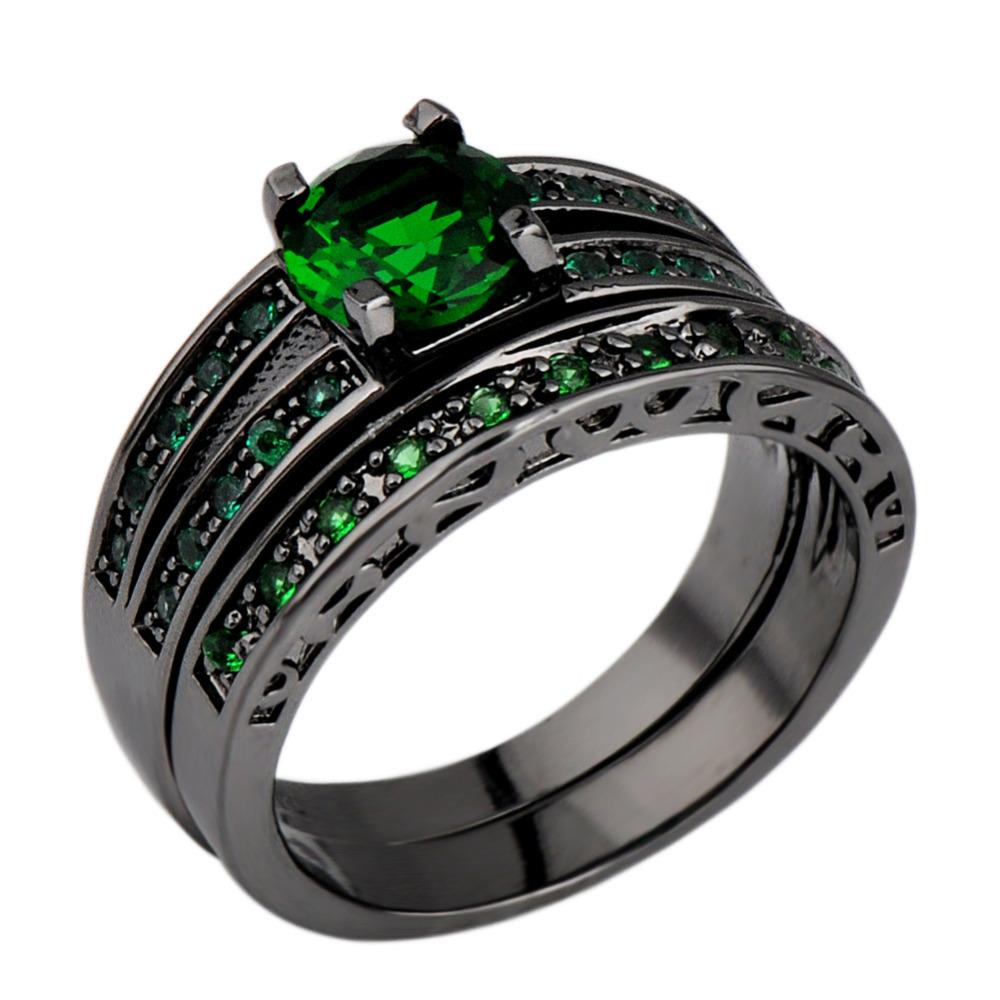 Buy Fashion Emerald Finger Ring For Women Aaa Zircon 10kt Black
