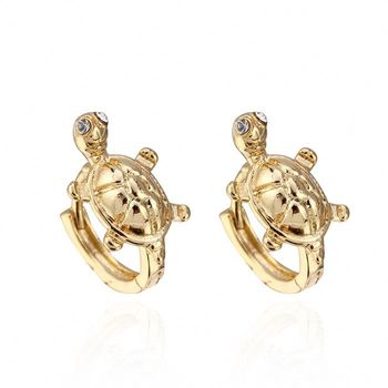 Wholesale Jewelry Women 925 Silver Gold Hoop Small Tortoise Earring