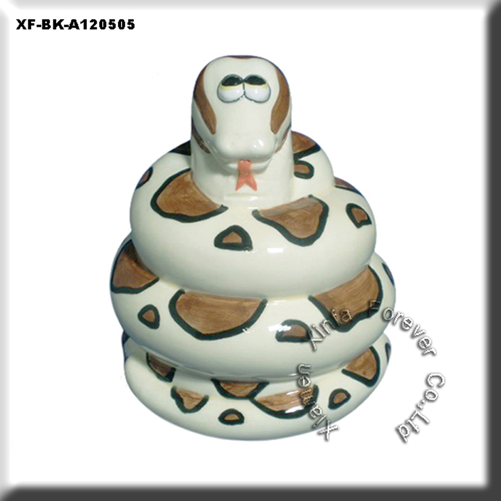 cute unpainted hobby pottery snake money box