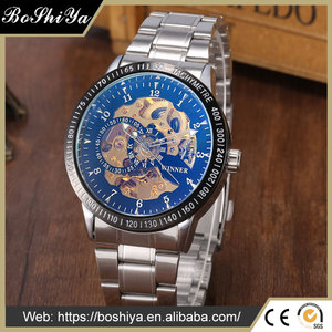 Luxury Skeleton Full Automatic Mechanical Watch Men with Stainless Steel Band Relogio