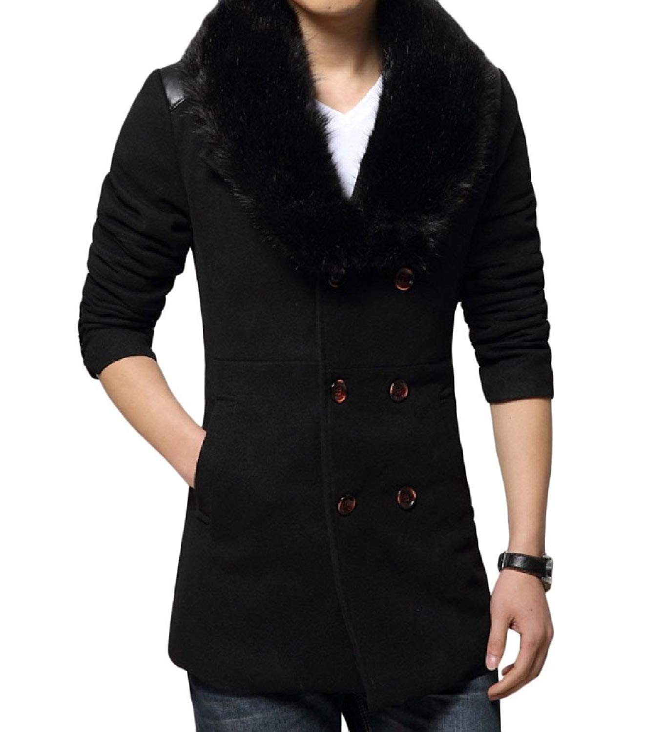 ONTBYB Mens Stylish Stand Collar Single Breasted Mid-Weight Wool Blend Peacoats
