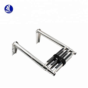 Marine Boat Swimming Pool Stainless Steel Telescopic Folding Ladder with anti-slid steps