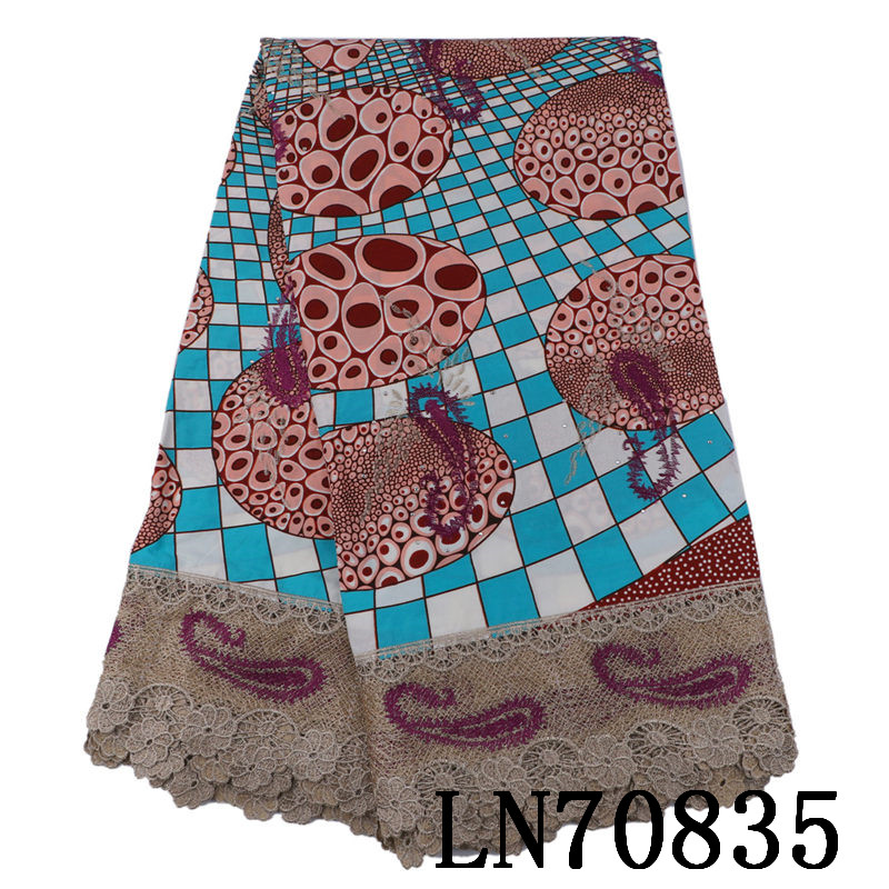 LN70835 Factory parice embroidered cotton real wax fabric with cord lace new designs high quality
