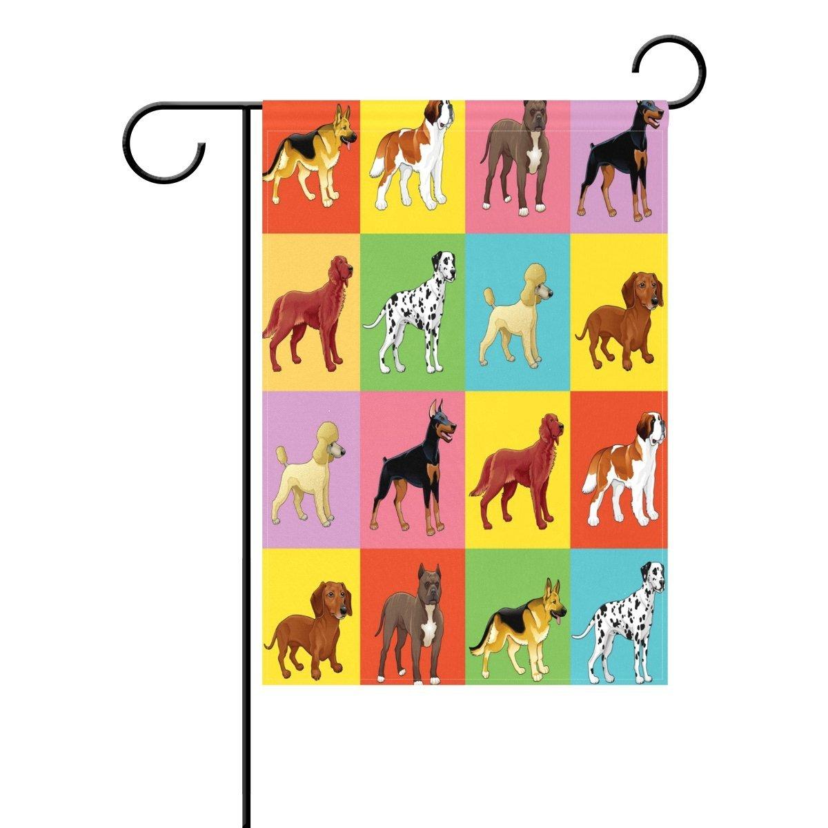 "WOZO Puppy Pug Chihuahau Dachshund Garden Flag 28"" x 40"" Polyester Outdoor Flag Home Party"