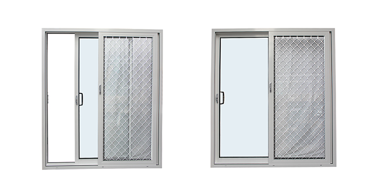 White Aluminum Sliding Door With security protection net