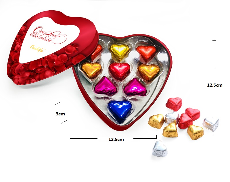 58g Heart Shape Milk Chocolate With Tin Box Packaging Valentine