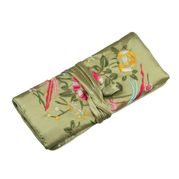 Green Silky jewelry roll or cosmetic roll travel pouch organizer JR011