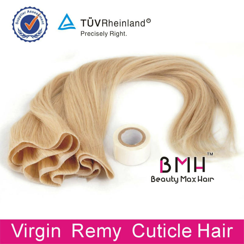 Wholesale price Remy human hair hand tied seamless PU skin weft hair extensions