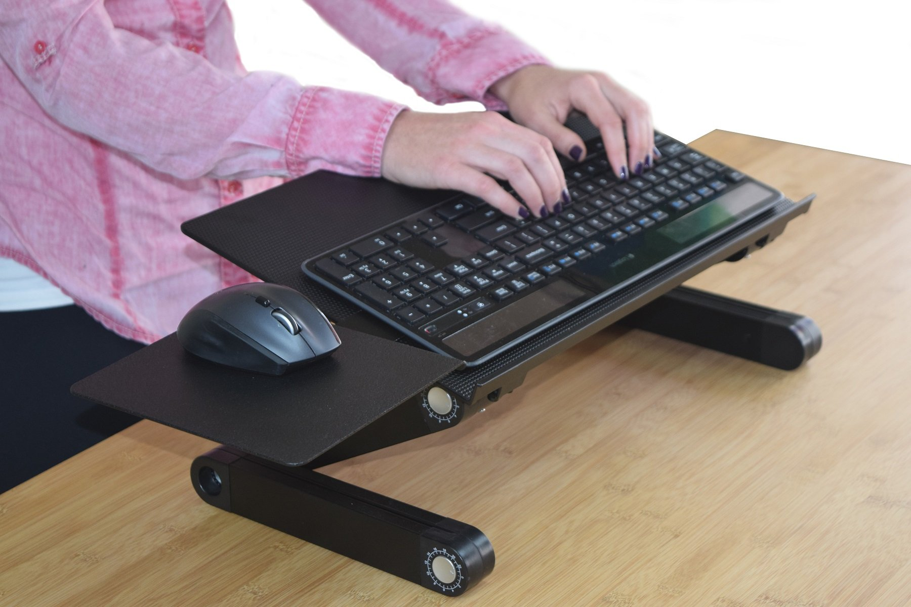 Uncaged Ergonomics (WEKTb) WorkEZ Keyboard Tray Stand Up Adjustable Height & Angle Ergonomic Computer Keyboard Riser For Standing. Portable, Negative Tilt Ambidextrous Mouse Pad