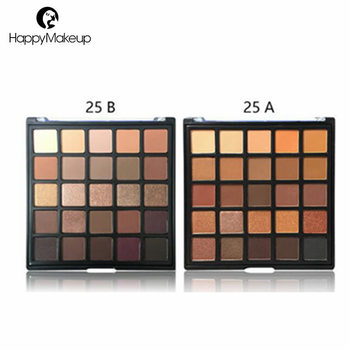 Private label matte shimmer warm 25 colors pressed glitter eyeshadow palette