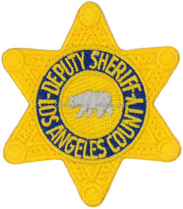 Embroidered Patches - Plastic/PVC DEPUTY SHERIFF STAR Gold Badge (Patch/Emblem/Badge/Label/Crest/Insignia)
