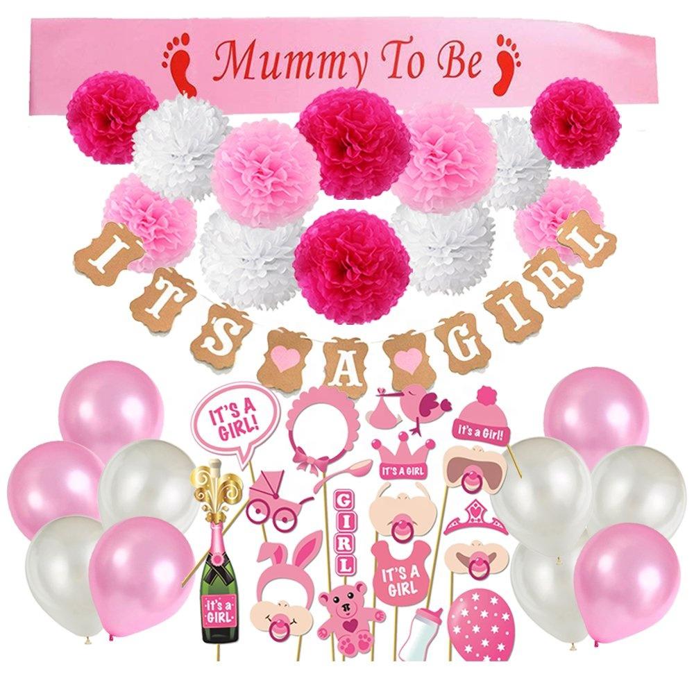Umiss kağıt doğum günü süslemeleri kızlar, mutlu doğum günü Banner pembe balonlar seti, doğum günü parti malzemeleri kız bebek için kadın
