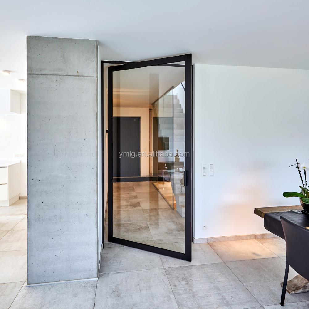 diseo elegante casa residencial puerta pivotante con doble cristal templado - Puerta Pivotante