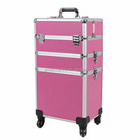 Cosmetic Rolling Case Universal Wheel 3 in 1 Professional Multifunction Artist Rolling Trolley Makeup Train Case 4-wheel