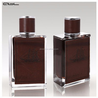 100ml perfume use leather cover and glass material hot sell glass perfume bottle with leather cap