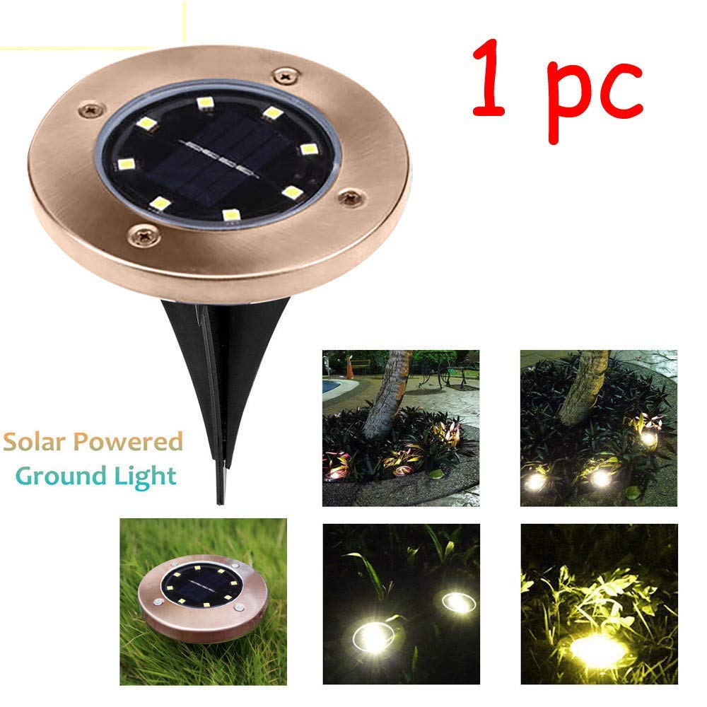 Transer- [US Stock] Solar Ground Lights, Waterproof 8 LED Buried Light Lamps Decking for Outdoor Garden Pathway Patio in-Ground Driveway Lawn Walkway Flood Disk, A Bright Road in Your Garden (Gold)