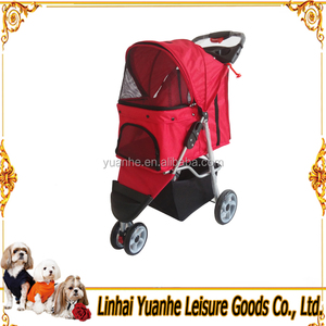 Red High quality 3 wheels oxford travel dog pet stroller/ trolley