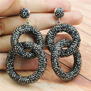 CH-MAE0054 Fashion Rinestone gunmetal big ring stud earring,Hot sale dangle earring,jewelry stud earring wholesale