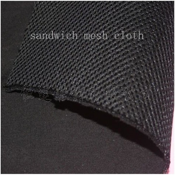 black knitting fabric laminated polyester sandwich mesh fabric/cloth for footwear