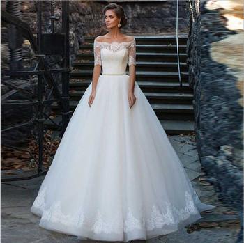 0615b4403 Vestido de casamento vestidos de boda 2018 de moda sexy hombro romántico  media manga none tren
