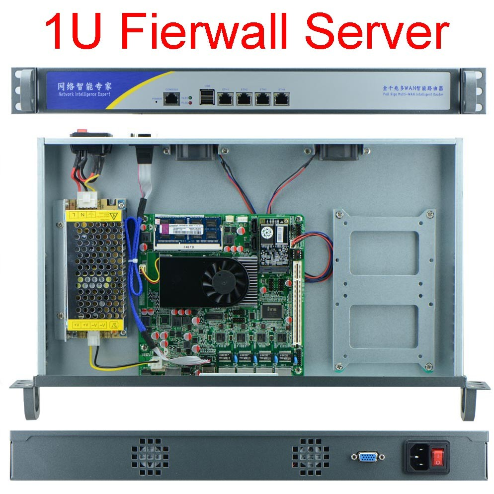 Celeron J1900 firewall server PC 1U box 4 LAN Multi WAN 4*Intel 82583V GbE 2G ram 8G SSD 2016 home and small office use