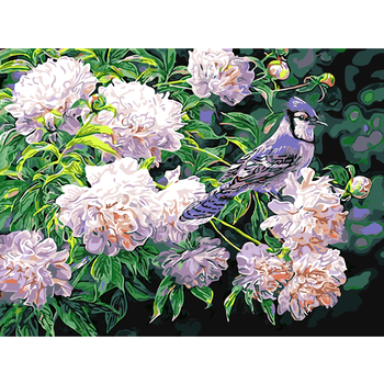 Custom Modern Oil Painting White Flowers And Birds Paint By Numbers Photo Hand Painted On Canvas Art Wall Picture