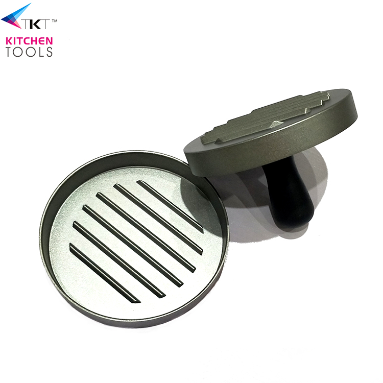 FDA food grade Non-Stick manual aluminium and Wood Handle mini BBQ burger press