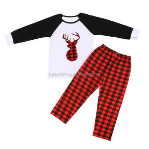 2017 winter 95% cotton long sleeves top and red check pants christmas pajamas kids clothing wholesale