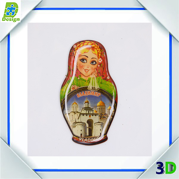 3D promotional glass/ceramic/crystal cities souvenir fridge magnet with beer opener