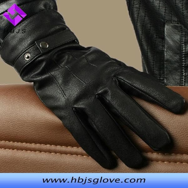 Popular Fashion Long Black Leather Gloves For Men