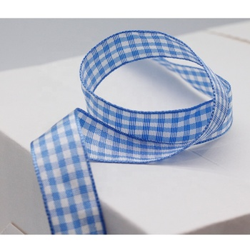 16MM plaid ribbon blue  and white tartan christmas  ribbon