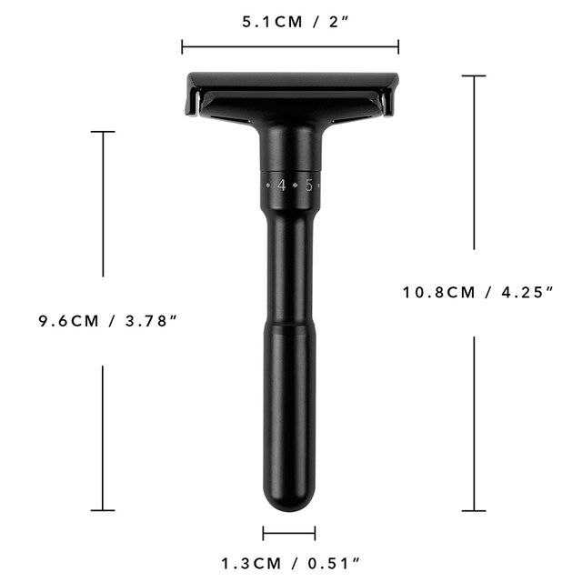 JDK Luxurious Black Adjustable Safety Razor with 5pcs Double Edge Razor Blades for Man Shaving