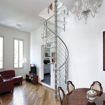Interior Decorative Floating Metal Spiral Staircase With Glass Railing