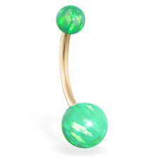 Free 14k Solid Gold Opal Belly Button Ring