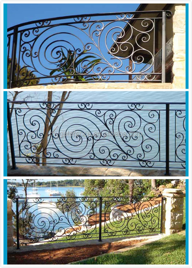 Yishujia factory wrought iron balcony railing exporter for Terrace design with grills