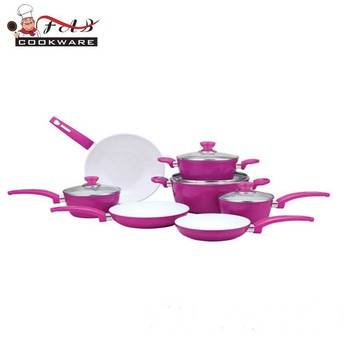 Well Equipped Kitchenware Ceramic Purple Pots And Pans Kitchenware Set
