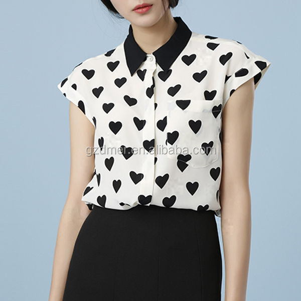 Heart printed lady designer shirt with raglan sleeves design