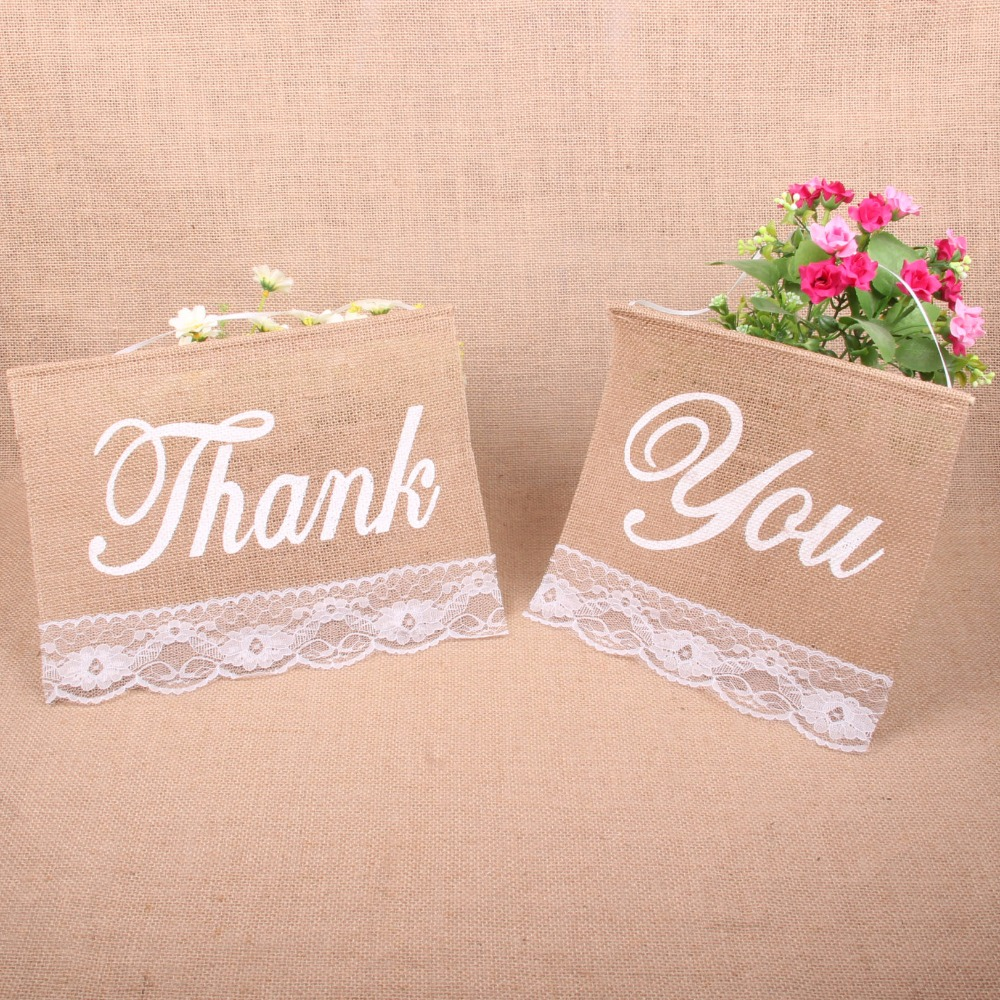 2016 New Thank You Rustic Wedding Party Burlap Bunting Banner Lace Edges Jute Flag Valentine's Day Decor Flag Party Supplies
