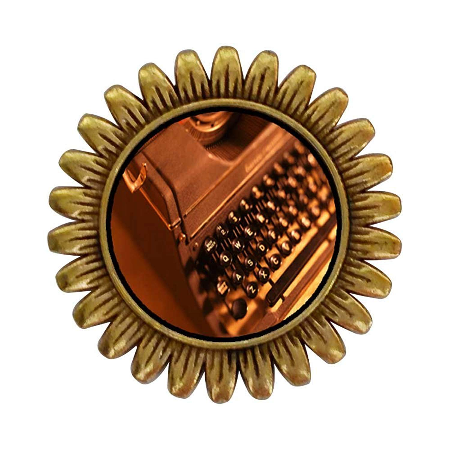 GiftJewelryShop Ancient Style Gold-plated Book Writer's Typewriter Sunflower Pins Brooch