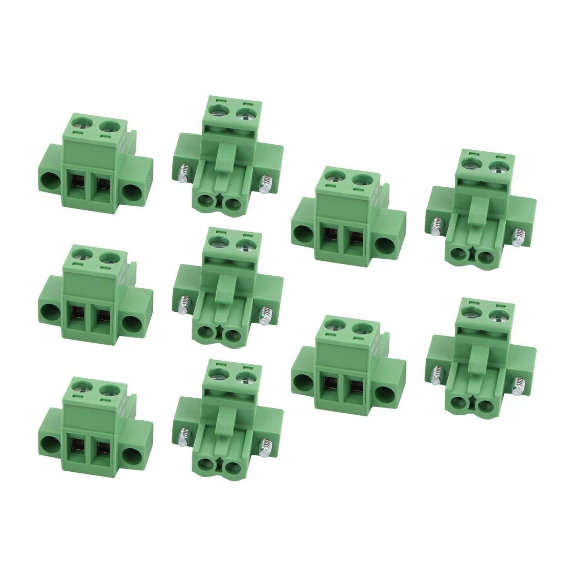 uxcell 10Pcs AC 300V 15A 5.0mm Pitch 2P Terminal Block Wire Connection for PCB Mounting