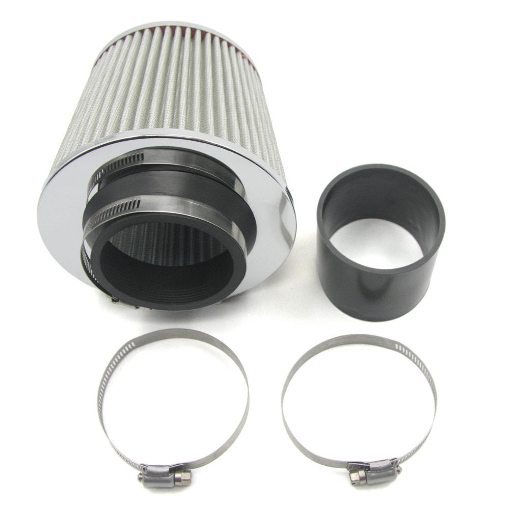 """Cold Air Intake Filter Aluminum Alloy Air Intake Kit Pipe Diameter 3/"""" Clamp"""
